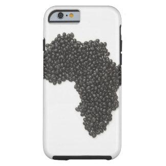 El mapa de África hizo de alubias negras Funda De iPhone 6 Tough