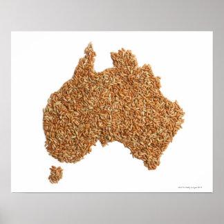 El mapa de Australia hizo del arroz pegajoso Posters