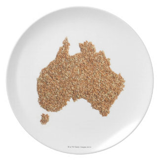 El mapa de Australia hizo del arroz pegajoso Plato