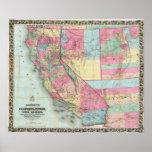 El mapa de Bancroft de California, Nevada Poster