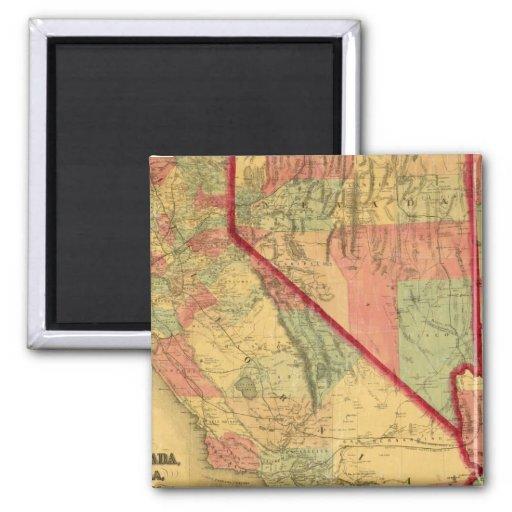 El mapa de Bancroft de California, Nevada, Utah Imán Cuadrado