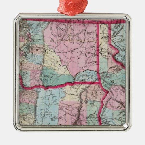 El mapa de Bancroft de Oregon, Washington, Idaho Adorno Cuadrado Plateado