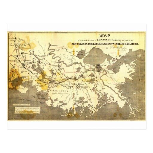 El mapa de Bayley de Luisiana railroads (1853) Postales