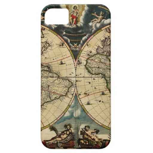 El mapa de Blaeu del mundo (1684) iPhone 5 Protectores