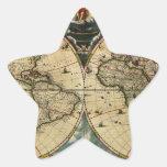 El mapa de Blaeu del mundo (1684) .jpg Calcomanía Forma De Estrellae