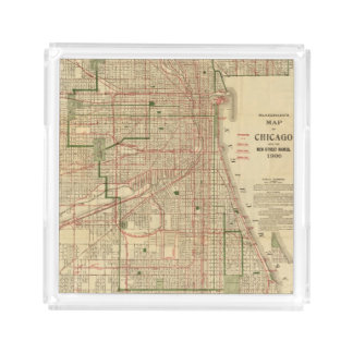El mapa de Blanchard de Chicago Bandeja Cuadrada