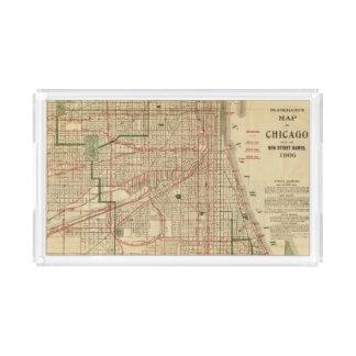 El mapa de Blanchard de Chicago Bandeja Rectangular