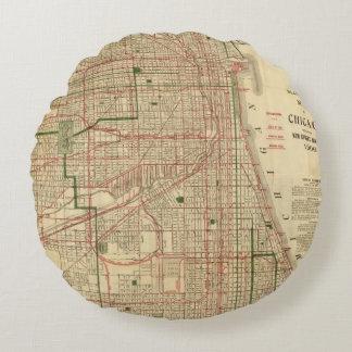 El mapa de Blanchard de Chicago Cojín Redondo