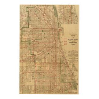 El mapa de Blanchard de Chicago Impresión En Madera