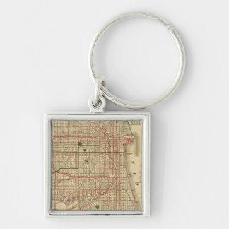 El mapa de Blanchard de Chicago Llavero Cuadrado Plateado