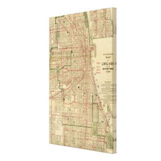 El mapa de Blanchard de Chicago Lona Envuelta Para Galerías