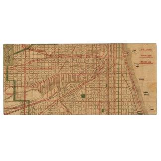 El mapa de Blanchard de Chicago Memoria USB 2.0 De Madera
