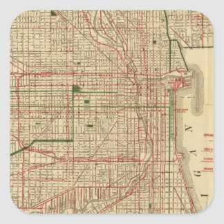 El mapa de Blanchard de Chicago Pegatina Cuadrada