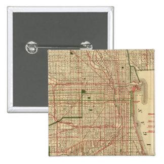 El mapa de Blanchard de Chicago Pin Cuadrada 5 Cm