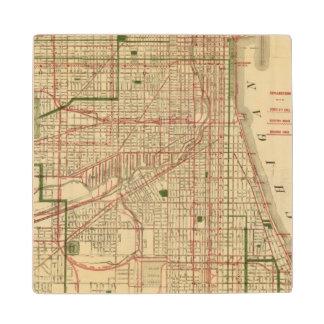 El mapa de Blanchard de Chicago Posavasos De Madera