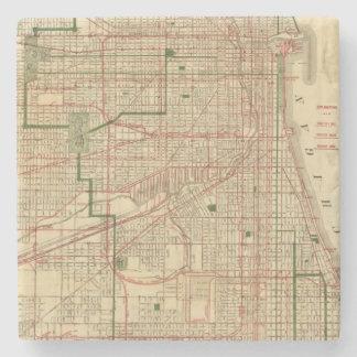 El mapa de Blanchard de Chicago Posavasos De Piedra