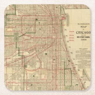 El mapa de Blanchard de Chicago Posavasos Personalizable Cuadrado