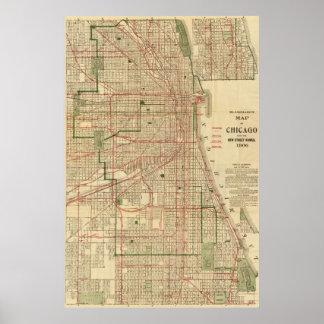 El mapa de Blanchard de Chicago Póster