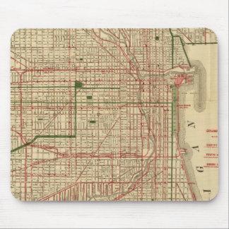 El mapa de Blanchard de Chicago Tapetes De Ratones