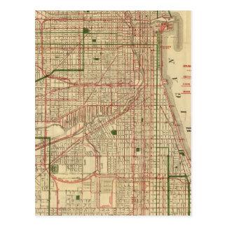El mapa de Blanchard de Chicago Tarjeta Postal