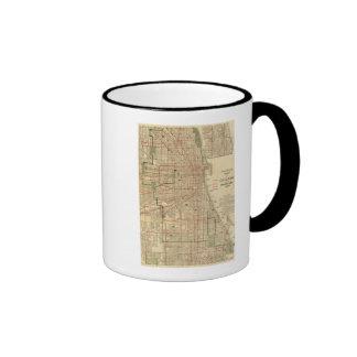 El mapa de Blanchard de Chicago Tazas De Café