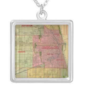 El mapa de Blanchard de Chicago y de alrededores Colgante Cuadrado