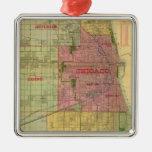 El mapa de Blanchard de Chicago y de alrededores Adorno Cuadrado Plateado