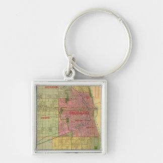 El mapa de Blanchard de Chicago y de alrededores Llavero Cuadrado Plateado