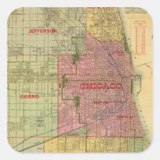 El mapa de Blanchard de Chicago y de alrededores Pegatina Cuadrada