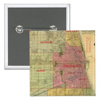 El mapa de Blanchard de Chicago y de alrededores Pin Cuadrado