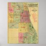 El mapa de Blanchard de Chicago y de alrededores Póster