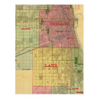 El mapa de Blanchard de Chicago y de alrededores Postales