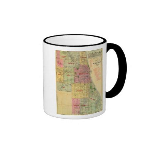 El mapa de Blanchard de Chicago y de alrededores Taza A Dos Colores