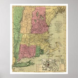 El mapa de Bowle de Nueva Inglaterra 1784 Impresiones