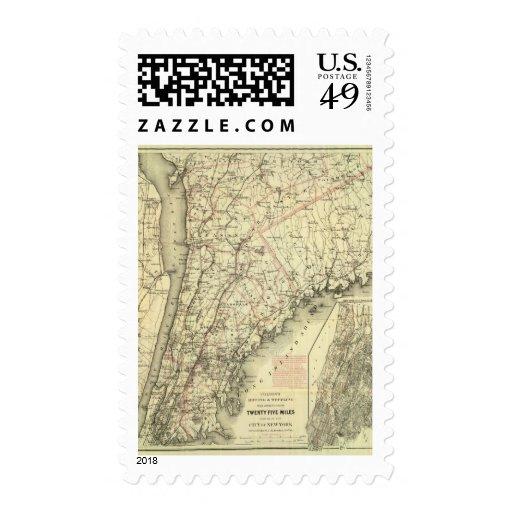 El mapa de conducción y que rueda de Colton de los Sello Postal