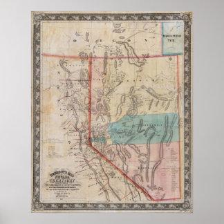 El mapa de DeGroot del territorio de Nevada Posters