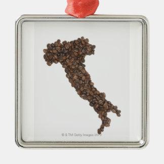 El mapa de Italia hizo de los granos de café Adorno