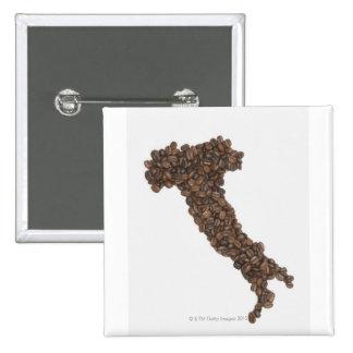 El mapa de Italia hizo de los granos de café Pin Cuadrada 5 Cm