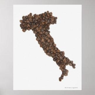 El mapa de Italia hizo de los granos de café Póster