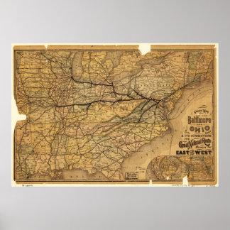 El mapa de la Baltimore y Ohio Railroad en 1876 Póster