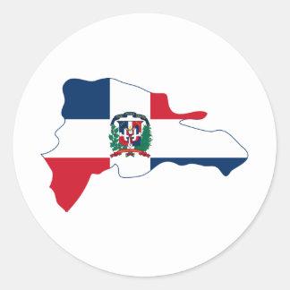 El mapa de la bandera de la República Dominicana Pegatina Redonda