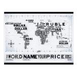 El mapa de la moneda del mundo tarjetas postales