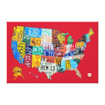 El mapa de la placa de los E.E.U.U. envolvió rojo  Lona Estirada Galerías