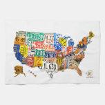 El mapa de la placa de los E.E.U.U. resumió la toa Toalla De Cocina