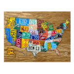 El mapa de la placa de los E.E.U.U. viaja los 50 e Postales