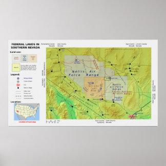 El mapa de la tierra federal meridional de Nevada  Posters