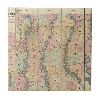El mapa de Lloyd del río Misisipi más bajo Azulejo Cuadrado Pequeño