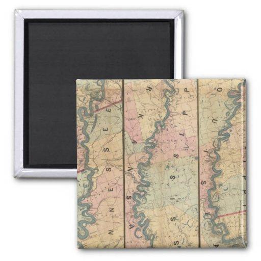El mapa de Lloyd del río Misisipi más bajo Imanes De Nevera