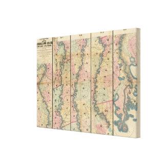 El mapa de Lloyd del río Misisipi más bajo Impresion En Lona
