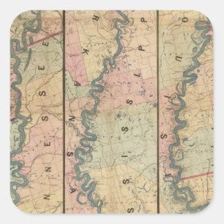 El mapa de Lloyd del río Misisipi más bajo Pegatina Cuadrada